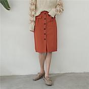 Tiro real Primavera nuevo arte ventilador de color sólido de bolsillo doble botón de división falda busto