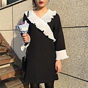 シックなスーパーセントにサインしてください韓国はフラッシングステッチVネックヘッジ野生の気質長いドレス