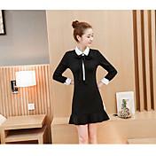 2017 las nuevas mujeres coreanas del resorte delgadas eran vestido fino del fishtail del arco del collar de la muñeca bottoming