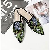 Mujer-Tacón Plano-Confort-Zuecos y pantuflas-Informal-Ante-Negro Marrón Verde