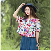 Nuevas mujeres&# 39; s nacional de viento de algodón cuello redondo camiseta de impresión de telas