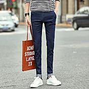 Hombre Coreano Tiro Medio strenchy Ajustado Pantalones,Lápices Moda Color puro