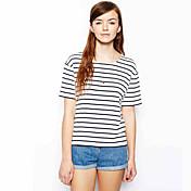 レディース 日常着 屋内 バケーション 夏 Tシャツ,シンプル ラウンドネック 縞柄 ポリエステル 半袖 ミディアム