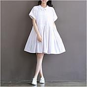 # 3661 primavera y el verano de algodón a rayas estilo marinero vendimia teatral vestido de manga corta