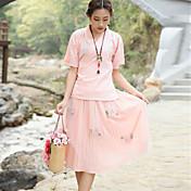 realmente hacer traje de la falda del vestido de té chino camisa femenina mejorado cheongsam bordado de gasa + pieza falda plisada