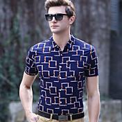 メンズ カジュアル/普段着 ワーク プラスサイズ 夏 Polo,シンプル シャツカラー 幾何学模様 コットン スパンデックス 半袖 ミディアム