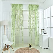 ワンパネル 田舎風 つる植物 グリーン / パープル リビングルーム ポリエステル シアーカーテンシェード