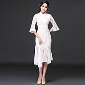 オリジナル2017春新婦&エレガントなヴィンテージレースのドレストランペットの袖のドレスcheongsamドレスの#39; sの長いセクション