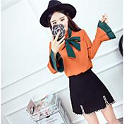 弓のホーンスリーブシャツスリム野生で2017年春に新しい韓国のファッションスペルカラーに署名