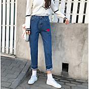 サインインして、新しい韓国の赤いフープストレートウエストは、薄いジーンズの女子学生だった