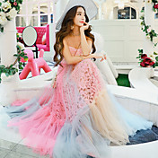 2017年夏の新ファッション甘い重いレースのドレスのスペル色の大きなスイングドレスの女性