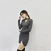 Sign cruz Europa y el nuevo vestido de cuello en V retro halter era delgado split fold package cadera de la hembra