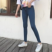Firmar una mujer nueva hebilla pantalones muy delgada lavado pantalones vaqueros hembra