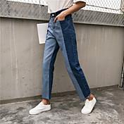 サイン〜ステッチウエストストレートジーンズジーンズの韓国語バージョンは、女性のズボンの学生パンスト