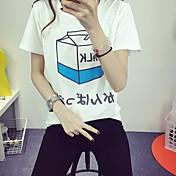 記号#6009 2017年春新しい文字のプリント半袖漫画のTシャツシャツ女子学生
