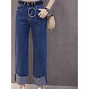firmar 2017 del resorte nuevas de cintura alta pantalones anchos de la pierna del dril de algodón coreano con encrespa cinturón