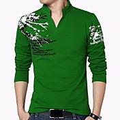 Pánské Tisk Velké velikosti Běžné/Denní Dovolená Jednoduché Čínské vzory Tričko-Všechna období Bavlna Spandex Do V Dlouhý rukáv Střední