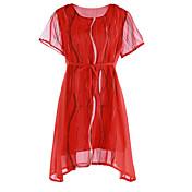 Mujer Línea A Vestido Noche Simple,Estampado Escote Redondo Sobre la rodilla Manga Corta Poliéster Otoño Tiro Medio Microelástico Medio