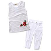 Set Da ragazza Cotone Tinta unita A strisce Con stampe Estate Pantalone lungo Completo