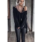 Mujer Chic de Calle Noche Camiseta,Escote en V Profunda Un Color Manga Larga Algodón