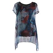 レディース お出かけ 秋 Tシャツ,ストリートファッション ラウンドネック プリント シルク 長袖