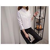 レディース お出かけ Tシャツ,シンプル シャツカラー ソリッド コットン 長袖