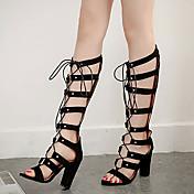 MujerSuelas con luz-Zapatos de taco bajo y Slip-Ons-Informal-Ante-Negro Almendra