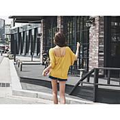 レディース カジュアル/普段着 春 夏 Tシャツ,シンプル ラウンドネック ソリッド コットン 半袖 スモーキー