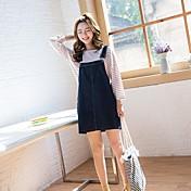 Mujer Simple Casual/Diario Camiseta,Escote Redondo A Rayas Manga Larga Algodón