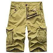 Masculino chinoiserie Cintura Alta Micro-Elástica Shorts Calças,Solto Sólido