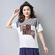 Mujer Simple Casual/Diario Camiseta,Escote Redondo Bloques Manga Corta Lino