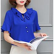 Mujer Vintage Noche Blusa,Escote Redondo Un Color Manga Corta Otro