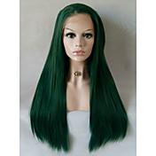 Mujer Pelucas sintéticas Encaje Frontal Medio Largo Liso Verde Entradas Naturales Parte lateral Peluca natural Peluca de Halloween Peluca