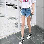Mujer Chic de Calle Tiro Alto strenchy Vaqueros Shorts Pantalones,Delgado Un Color