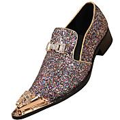 Hombre Zapatos Cuero de Napa Primavera Verano Otoño Invierno Zapatos formales Oxfords Para Casual Fiesta y Noche Marrón Claro