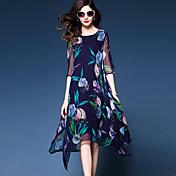 レディース ストリートファッション お出かけ プラスサイズ ルーズ ドレス,フラワー ラウンドネック アシメントリー ハーフスリーブ ナイロン 夏 ミッドライズ マイクロエラスティック ミディアム