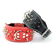 Cuello Ajustable/Retractable Tachonado Remache Sólido Piel Genuina Negro Rojo