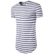 メンズ カジュアル/普段着 Tシャツ,ストリートファッション ラウンドネック ストライプ ポリエステル 半袖