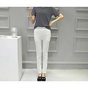 Mujer Sexy Sencillo Tiro Medio Microelástico Chinos Pantalones,Pantalones Harén Un Color Color puro