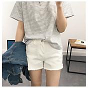 Mujer Sencillo Tiro Alto strenchy Shorts Pantalones,Corte Recto Un Color