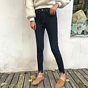 Mujer Chic de Calle Tiro Bajo strenchy Chinos Pantalones,Corte Recto Lunares