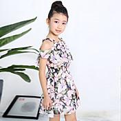 女の子の お出かけ カジュアル/普段着 ホリデー フラワー コットン ドレス 夏 半袖