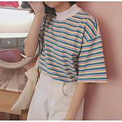 レディース カジュアル/普段着 Tシャツ,シンプル クルーネック ストライプ コットン 半袖