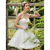 プリンセス ハートカット 膝丈 レース ウェディングドレス とともに クリスタル ビーズ アップリケ フラワー 〜によって HUA XI REN JIAO