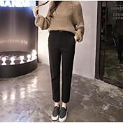 Mujer Sencillo Tiro Medio Microelástico Chinos Pantalones,Delgado Un Color Color puro