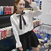 Mujer Vintage Bonito Formal Blusa,Escote Redondo Un Color Manga Larga Algodón