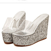 MujerSuelas con luz-Zapatos de taco bajo y Slip-Ons-Informal-PU-Dorado Plata
