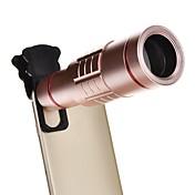 ミニ三脚のスマートフォン金属望遠鏡と18倍ユニバーサルアルミ光学ズームズームレンズ - ピンク