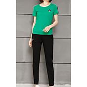 Mujer Simple Diario Casual Deportes Verano T-Shirt Pantalón Trajes,Escote Redondo Un Color Manga Corta Microelástico