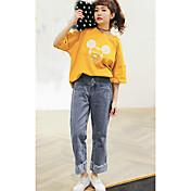 Mujer Vintage Noche Casual/Diario Vacaciones Verano Camiseta,Escote Redondo Un Color Estampado Animal Manga Corta Algodón Medio